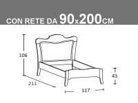 Schema letto Arcanda singolo con rete da 90x200cm