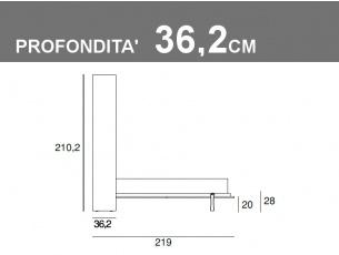 Misure del letto matrimoniale a ribalta verticale Vertigo p.36,2cm