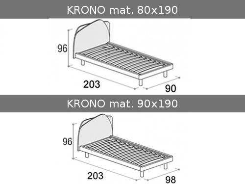 Dimensioni del letto colorato singolo Krono Doimo Cityline