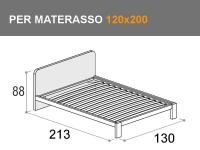 Letto da una piazza e mezza Giotto Bit con rete a doghe per materasso da 120x200cm