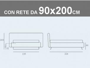 Misure del letto singolo imbottito con piede a slitta e contenitore con rete a doghe da 90x200cm Doxy
