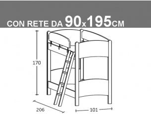 Schema letto Luna castello con reti da 90x195cm