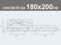 Misure del letto Noctis Marvin matrimoniale XL imbottito con rete a doghe da 180x200cm