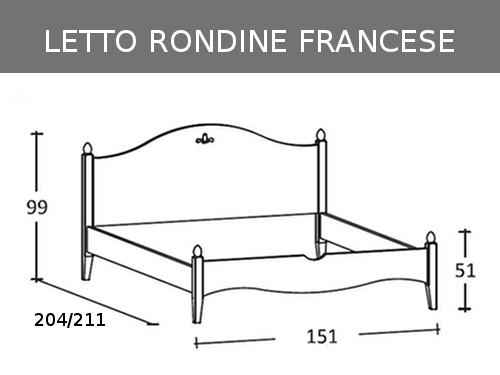 Letto alla francese classico in legno massello modello Rondine