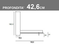 Misure del letto matrimoniale a scomparsa orizzontale Gemini profondità 42.6cm