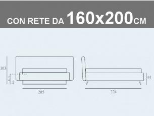 Misure del letto matrimoniale contenitore imbottito Noctis Doxy con rete a doghe da 160x200cm