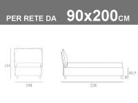 Letto singolo in vero tessuto Jeans Noctis So Casual con rete a doghe da 90x200cm