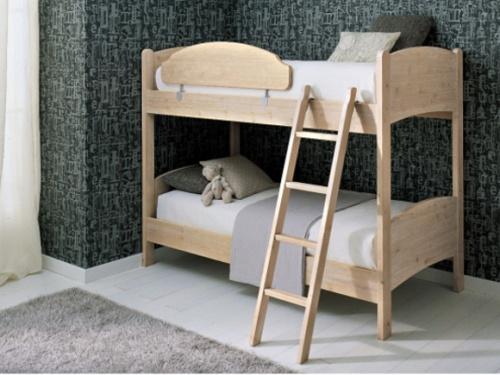 Letto a castello con 2 letti singoli con rete a doghe Scandola Luna in legno massello