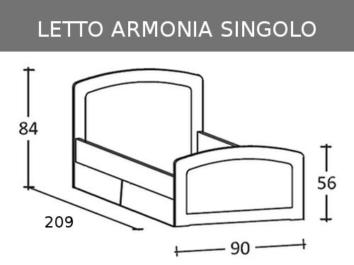 Misure del letto singolo Armonia di Scandola con cassetti