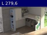Castelponte angolare Largh cm 279,6 con libreria terminalemm2796x2580x2090