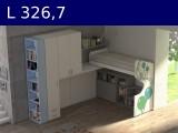 Castelponte angolare Largh cm 326,7 con colonna da 47,3 e libreria mm3267x2580x2090
