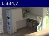 Castelponte angolare Largh cm 334,7 con colonna da 55,3 e libreria mm3347x2580x2090