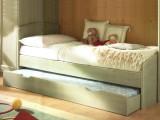Letto singolo in legno massello modello Armonia con seconda rete estraibile