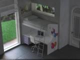 Letto a castello con letto sopra con rete a doghe per materasso da 80x190cm, scrivania sotto fissa, con scala a pioli