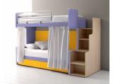 Letto a castello Doimo Cityline modello Fox con scala di salita laterale, testata sagomata per facilitare l accesso al letto superiore. Letto a castello per cameretta compatto, pratico e colorato