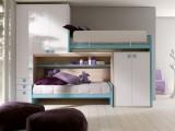 Letto a soppalco scorrevole con scala nascosta Doimo Cityline modello Moving con 2 letti e armadio a 3 ante