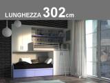 Cameretta a soppalco per due modello Castelponte lineare fisso lunghezza 302,3cm