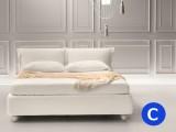 Raffinato letto alla francese imbottito con 2 cuscini e nastrini a fiocco, rete a doghe e box contenitore Noctis Eden