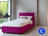 Morbido letto singolo imbottito Noctis London, elegante e semplice disponibile sia in tessuto che in ecopelle, compreso di rete a doghe e box contenitore