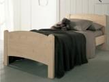 Letto singolo in legno massello Scandola Luna con rete a doghe, testata a forma di mezza luna, elegante e resistente