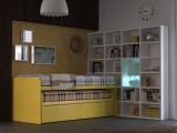 Coppia di letti scorrevoli a minicastello Pitagora, disponibili singoli, in coppia su ruote con cassetti, cassettoni, rete estraibile e scrivania a scomparsa nel cassetto