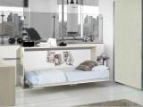 Un semplice letto singolo a scomparsa con movimento orizzontale, modello Andres con rete a doghe, mobile letto salvaspazio ideale per ambienti di dimensioni ridotte